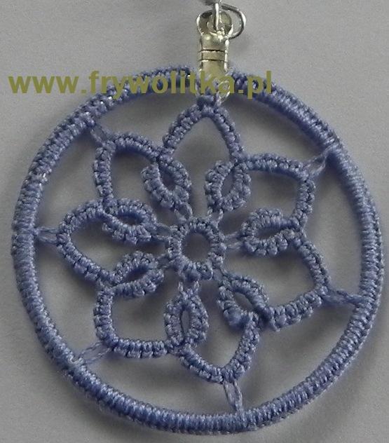 Wisior frywolitkowy - arystokratka z koralikami /kółko